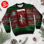 Native Feather Pattern Ugly Christmas Sweater, All Over Print Sweatshirt