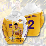 Sports Basketball Nba Los Angeles Lakers Lonzo Ball 3D All Over Print Hoodie, Zip-up Hoodie
