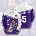 Sports Basketball Nba Sacramento Kings Deaaron Fox  3D All Over Print Hoodie, Zip-up Hoodie