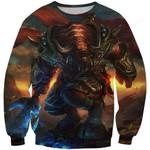 World of Warcraft Tauren Warrior 3D All Over Print Hoodie, Zip-up Hoodie