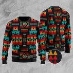 Black Native Tribes Pattern Ugly Christmas Sweater, All Over Print Sweatshirt