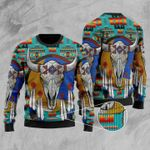 Blue Native Tribes Pattern Ugly Christmas Sweater, All Over Print Sweatshirt