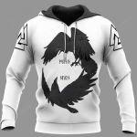 Odin's Ravens Huginn And Muninn Viking 3D All Over Print Hoodie, Zip-up Hoodie