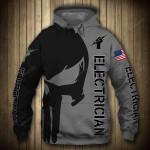 Electrican Punisher Skull US Flag 3D All Over Print Hoodie, Zip-up Hoodie