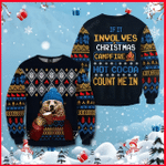 If It Involves Christmas, Campfire & Hot Cocoa Count Me In Ugly Christmas Sweater, All Over Print Sweatshirt