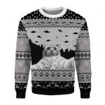 Merry Christmas Gearhomies UFO Cat Funny Cat Selfie Ugly Christmas Sweater, All Over Print Sweatshirt