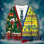 Hanuhhah Cutsom Ugly Christmas Sweater, All Over Print Sweatshirt