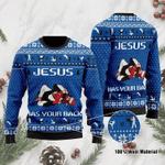 Jesus Has Your Back Ugly Christmas Sweater, All Over Print Sweatshirt