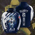 Sports American Nfl Dallas Cowboys Ezekiel Elliott 3D All Over Print Hoodie, Zip-up Hoodie