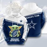 Dallas Cowboys Baby Yoda 3D All Over Print Hoodie, Zip-up Hoodie