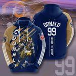 Sports American Nfl Los Angeles Rams Aaron Donald  3D All Over Print Hoodie, Zip-up Hoodie