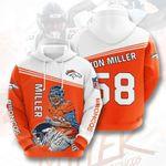 Sports American Nfl Denver Broncos Von Miller  3D All Over Print Hoodie, Zip-up Hoodie