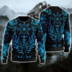 Viking Phoenix Vegvisir Ugly Christmas Sweater, All Over Print Sweatshirt