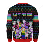 Happy Purride Cat LGBT Ugly Christmas Sweater, All Over Print Sweatshirt