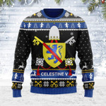 Celestine V Coat of Arms Ugly Christmas Sweater, All Over Print Sweatshirt