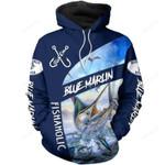 Blue Marln Fish Art 3d All Over Print Hoodie, Zip-Up Hoodie