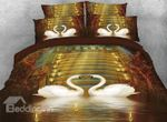 Couple Swans In Love Candles Bedding Set PAWP YUY BUBL