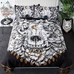Wolf Skull With Floral Native American Bedding Set PAUZ YUY BUBL