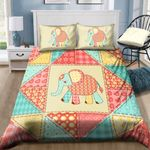 A Cute Elephant Loves Flower Bedding Set PCVP YUY BUBL