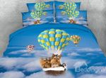 Yorkshire Terrier Flying In Sky With Hot Air Balloon Bedding Set PCYF YUY BUBL