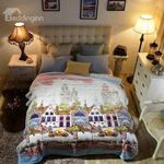 Cartoon Town With Buildings Bedding Set PCOV YUY BUBL