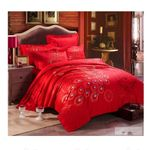 Red Peacock Feathers Bedding Set PAKA YUY BUBL