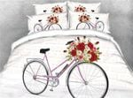 Flower And Bicycle White Bedding Set PCPU YUY BUBL