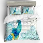 Blue Peacock White Bedding Set PCEQ YUY BUBL