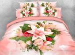 Pink Lilies And Roses D Bedding Set PCBF YUY BUBL