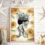 Nurse And Sun Flowers Vertical Poster