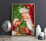 Santa Claus And Dogs Christmas Vertical Poster