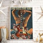 God Says You Are Guitar And Woman Vertical Poster