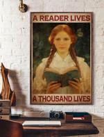 A Reader Lives A Thousand Lives Vertical Poster