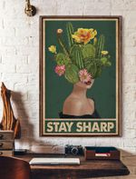 Stay Sharp Retro Green Cactus Vertical Poster