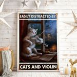 Easily Distracted By Cats And Violin Vertical Poster