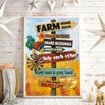 Farm House Rules Wall Art Vertical Poster
