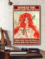Redhead Girl Knows More Than She Says Thinks More Than She Speaks & Notices More Than You Realize Vertical Poster