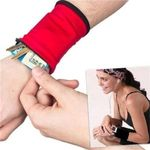 2 Pocket Wrist Wallet Breathable Walking Running Wrist Cell Phone Holder, Wrist Wallet, Sweat Bands 3 Colors