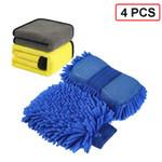 AUDECO™ Microfibre Mitt Sponge + Soft Drying Towels for Efficient Car Wash (4pcs COMBO)
