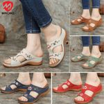 Women's Flower Embroidered Arch Support Vintage Casual Wedges Sandals