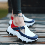 Women Sneakers Solid Color Platform Thick Bottom Ladies Flats Breathable Vulcanized Shoes Casual Female Sports Shoes 2021