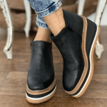 Women Comfy Slip-on Leather Ankle Walking Shoes