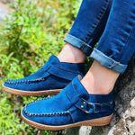 Women Ankle Boots Vintage Sewing Rivets Metal Buckle Ladies Leopard Women Retro Casual Soft Flock Female Plus Size Flat Shoes