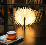 Wooden Book Light,Novelty Folding Book Lamp, Folding Night Light,USB Rechargeable Wooden Table Lamp,Magnetic Design- Creative Gift Home Office Decor for Family Girlfriend