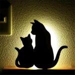 LED Projection Lamp Cat Wall Lamp Sound Control 3D Cat Lamp Decoration Children Kids Sleep Romantic Usb Lamp Projection