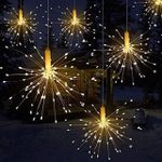Firework Lights, 8 Pack Starburst Lights LED Copper Wire Fireworks Lights Fairy Lights Christmas Fireworks Hanging Dimmable String 8 Modes Waterproof with Remote Control for Christmas Wedding Garden