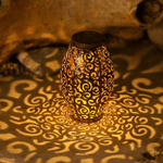 Retro Metal Lamps Solar Lanterns Waterproof Hollow-Out Design,Outdoor Hanging Solar Garden Lamps Decorate Handles, Patio Porches, Countertops