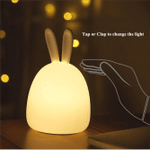 Rabbit LED Night Light Touch Sensor Colorful USB Rechargeable Cartoon Silicone Bunny Lamp for Children Baby Bedroom Bedside Gift