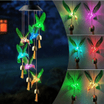 LED Solar Hanging Patio Light Porch Deck Garden Decor Home 6 LED Solar Hummingbird Wind Chime Butterfly Color Changing Mobile