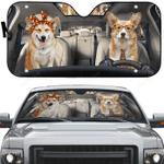 Adorable Couple Corgi Dogs Car Sunshade 57 X 27.5